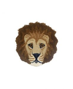 moody lion head rug doing goods